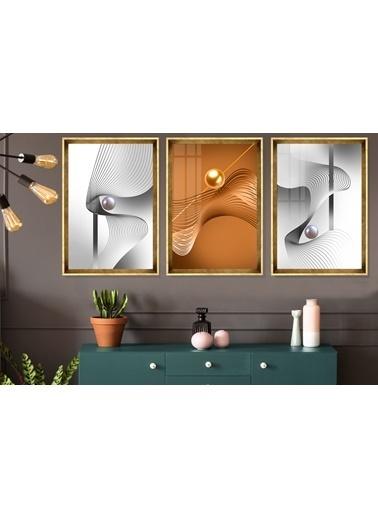 Çerçeve Home  Gold And Silver Globe Gold Çerçeve Tablo Seti Altın